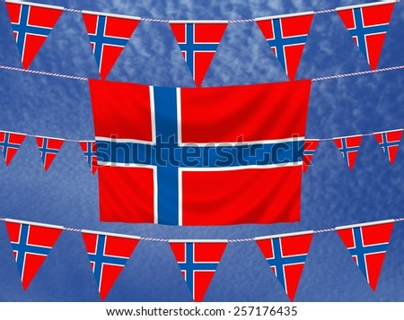 Illustrated flag of Norway with bunting and a sky background - stock photo