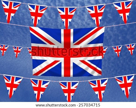 Illustrated flag of the United Kingdom with bunting and a sky background - stock photo