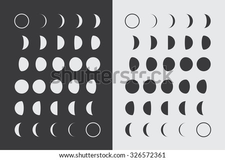 Illustrated Flat Lunar phases - stock photo