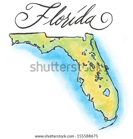 Illustrated Florida map. - stock photo