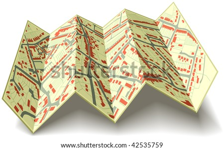 Illustrated folding map of housing in a generic town without names - stock photo