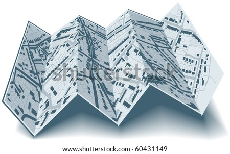 Illustrated folding map of housing in a generic town without names