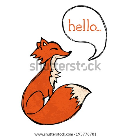 Illustrated fox drawing with text and texture - stock photo