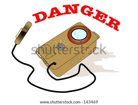 Illustrated geiger counter with words Danger in big red letters. - stock photo