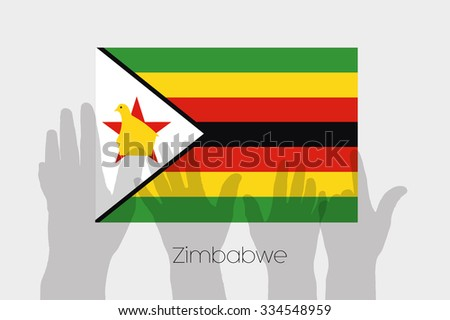 Illustrated Ghost Hands with the Flag of Zimbabwe