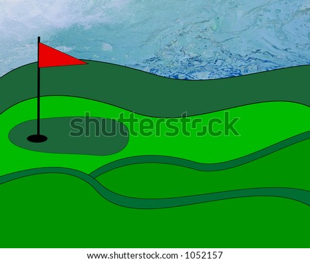 illustrated golf course on photo of water - stock photo