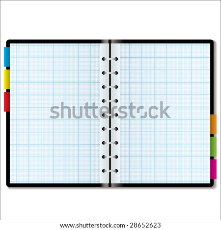 Illustrated graph paper in a note book with colored tabs - stock photo