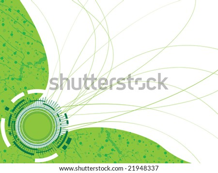 Illustrated green technical background with room for your own logo and copy space