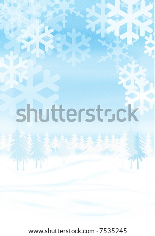 illustrated image of winter scene background
