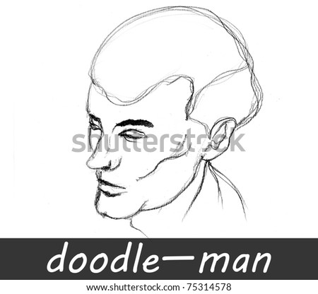 illustrated man Â?Â?doodle isolated on white background