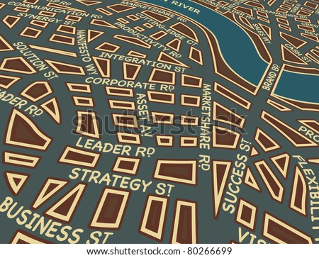 Illustrated map of a generic city with business street names - stock photo