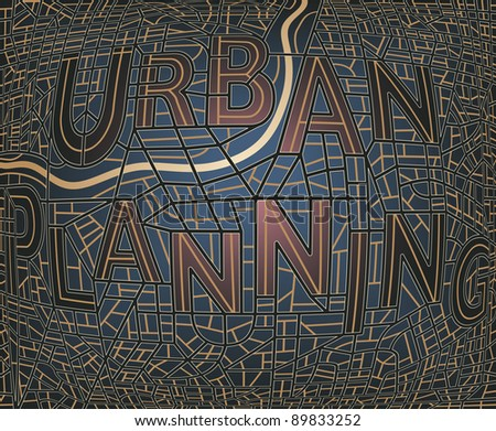 """Illustrated map of a generic city with the streets spelling the words """"Urban Plan"""" - stock photo"""