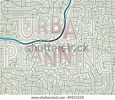 """Illustrated map of a generic city with the streets spelling the words """"Urban Planning"""" - stock photo"""
