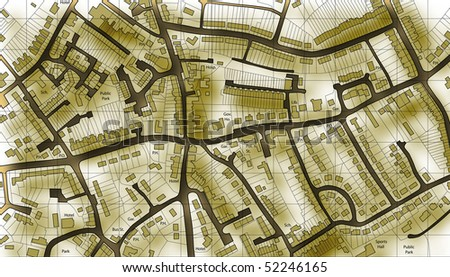 Illustrated map of housing in a generic town - stock photo