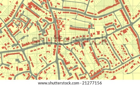 Illustrated map of housing in a generic town without names - stock photo