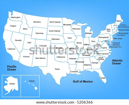 Outline Usa Map States Stock Vector Shutterstock - Usa maps with states