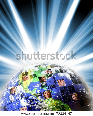 Illustrated montage of the earth with a global network of people from all walks of life on different continents. Earth photo courtesy of NASA. - stock photo