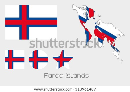 Illustrated Multiple Shapes Set with the Flag of Faroe Islands