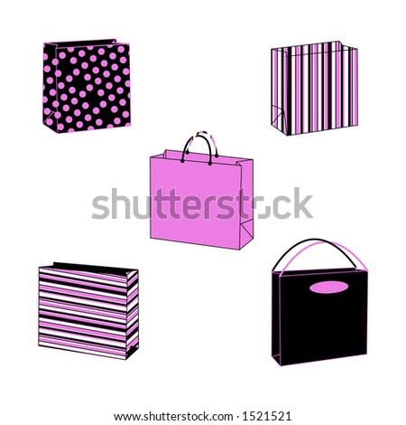 Illustrated paper bag - stock photo