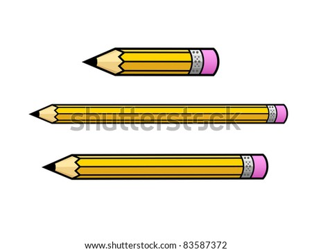 Illustrated Pencils in Various Lengths - High Resolution JPEG Version (vector version also available). - stock photo