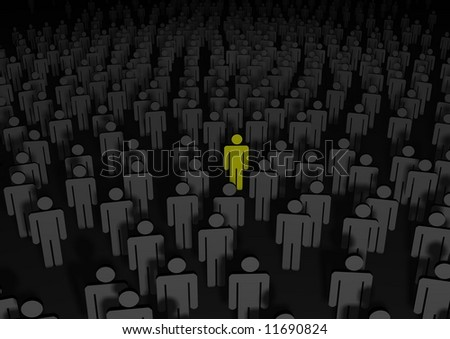 Illustrated people with one a different color - stock photo