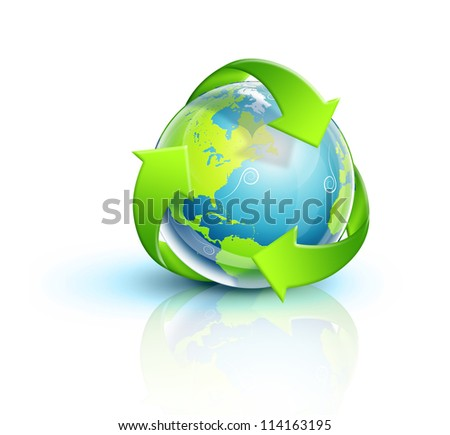 Illustrated Planet Earth Recycle Symbol