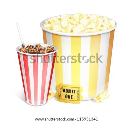 Illustrated Popcorn Bucket and Soda - stock photo