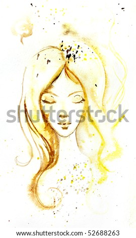 illustrated portrait of beautiful girl | hand made | watercolor | self made - stock photo