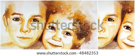 illustrated portrait of little boys | hand made | watercolor | self made - stock photo