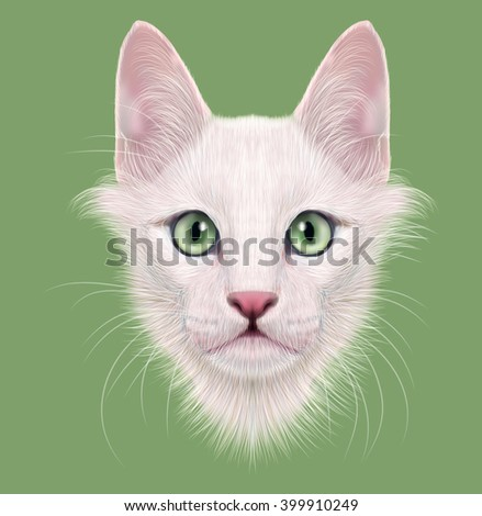 Illustrated Portrait of Turkish Angora cat. Cute face of white domestic cat with green eyes on green background.