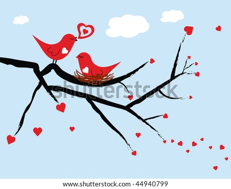 Illustrated red love birds with the female love bird sitting on a nest against a light blue background. - stock photo