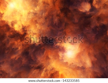 Illustrated roiling red and yellow clouds representing intense energy, massive explosion or fiery conflagration.
