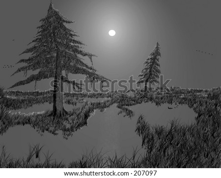 illustrated scene of migrating water fowl during a full moon - stock photo