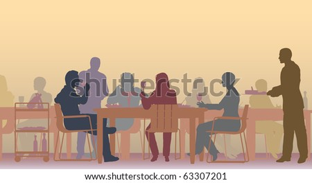 Illustrated scene of people eating in a restaurant - stock photo