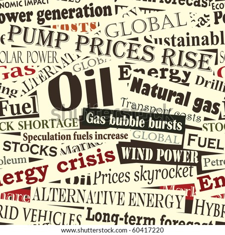 Illustrated seamless tile of energy headlines - stock photo
