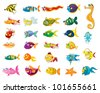 Illustrated set of marine animal cartoons - EPS VECTOR format also available in my portfolio. - stock photo