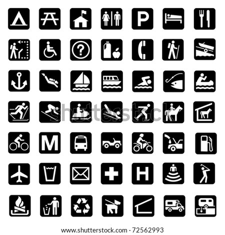 Illustrated set of signs associated with the countryside and national parks, white background. - stock photo