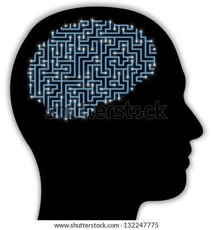 Illustrated side view of a persons head with a brain made of a maze with glowing neurons - stock photo