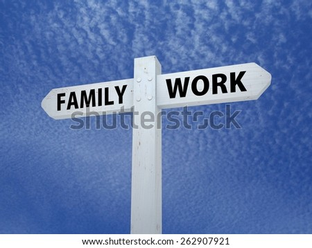Illustrated signpost with the words Family and Work - stock photo