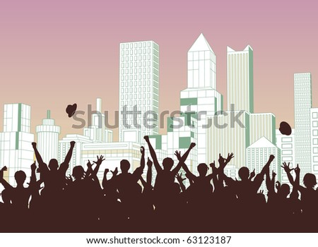 Illustrated silhouette of a crowd celebrating on a city street