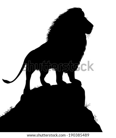 Illustrated silhouette of a male lion standing on a rocky outcrop - stock photo
