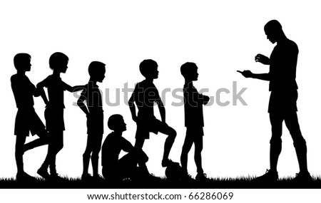 Illustrated silhouette of a man coaching children football