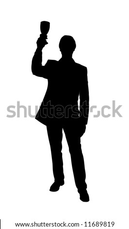 Illustrated silhouette of a man holding a glass