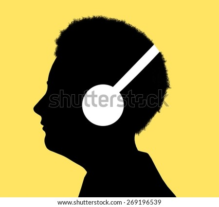 Illustrated silhouette of a person enjoying music, having a hearing test or learning with audio - stock photo