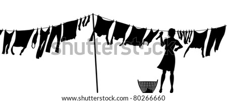 Illustrated silhouette of a woman hanging clothes on a washing line - stock photo