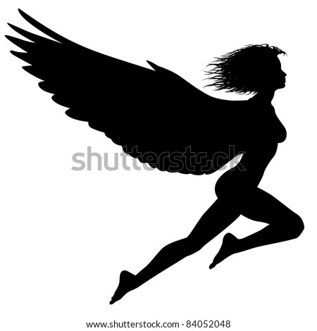 Illustrated silhouette of a woman with wings flying