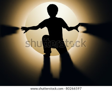Illustrated silhouette of a young boy climbing into a tunnel or tube