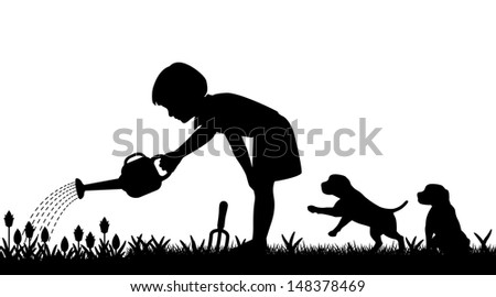 Illustrated silhouette of a young girl watering her garden and two puppies