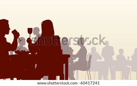 Illustrated silhouette of people eating in a restaurant - stock photo