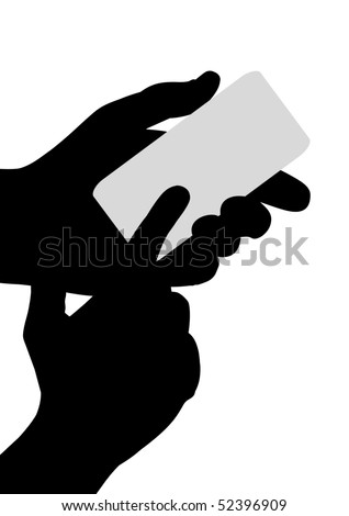 Illustrated Silhouette pair of hands holding a rounded rectangle - stock photo